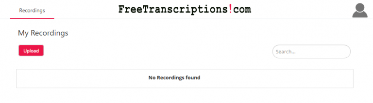 Screenshot of the free transcription software dashboard for uploading audio recordings.