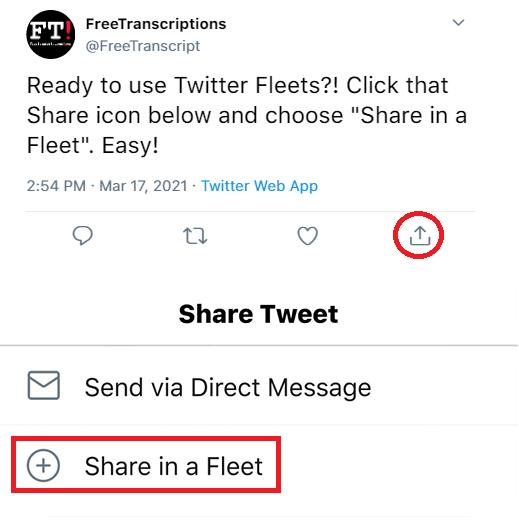 Share Tweet in a Fleet Example