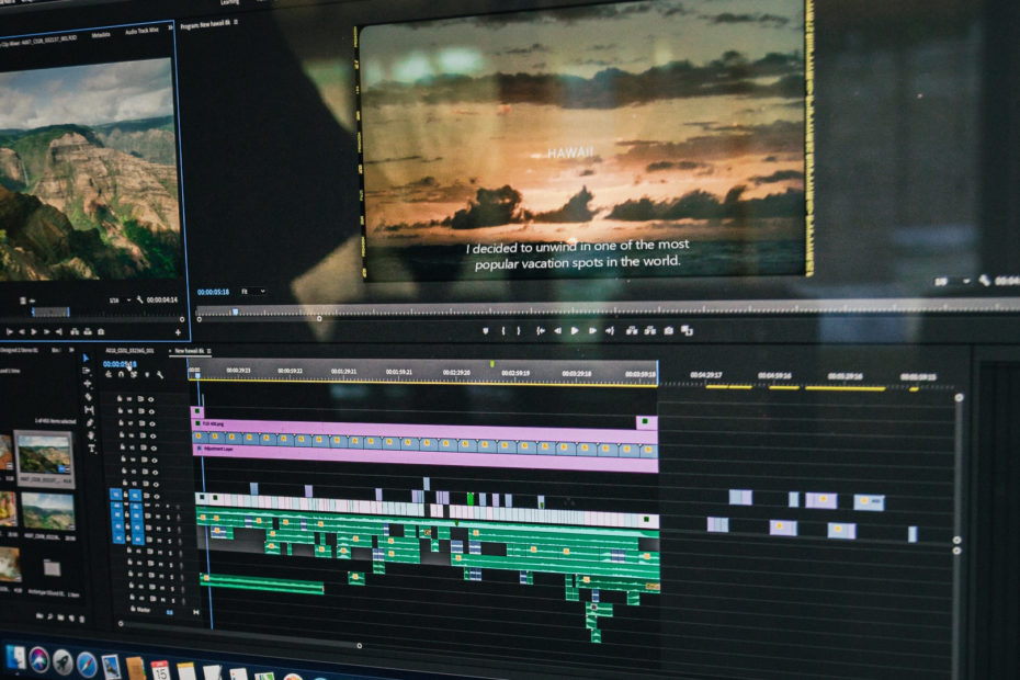 Video editor being used to add web closed captioning